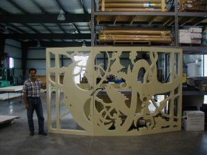 Architectural metalwork cut by waterjet