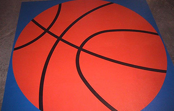 ball logo on rubber floor tiles