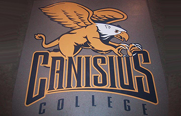 canisius college logo on rubber floor tile