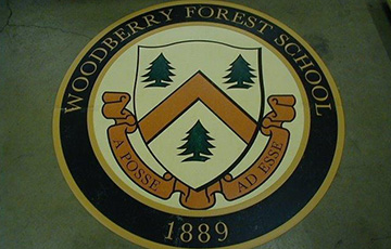 Woodberry forest school logo on vct tile