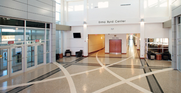 flooring inlay at Erma Byrd
