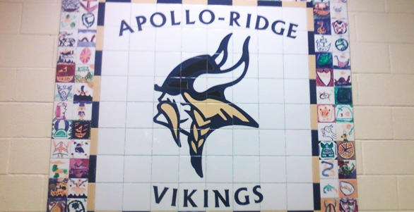 Apollo-Ridge Elementary School mural created from multi-color porcelain tile
