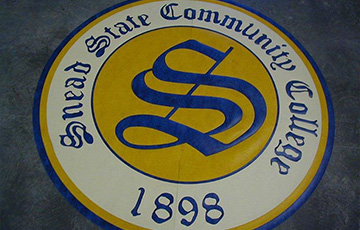 snead state college logo on linoleum tile